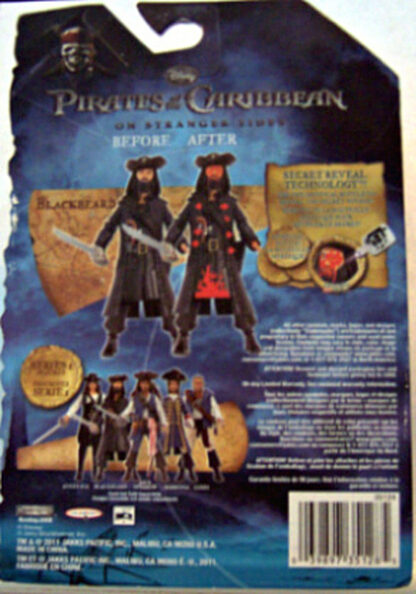 Disney Pirates of Caribbean On Stranger Tides Blackbeard Figure New In Pack Back
