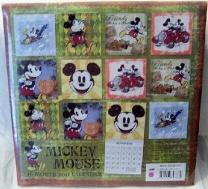 Disney Retro Mickey Mouse 16 Month 2011 Calendar New Back