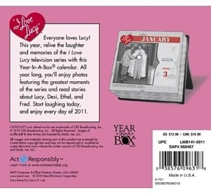 I Love Lucy 60th Anniversary 2011 Box Calendar by Year in a Box New Back