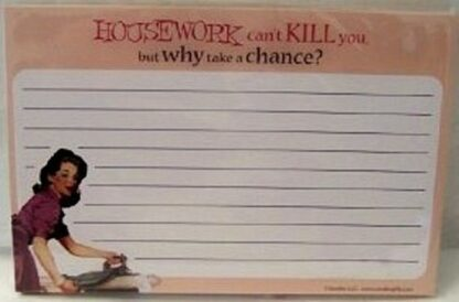 """Housework Recipe Notecards """"Housework Can't Kill You"""" Front"""