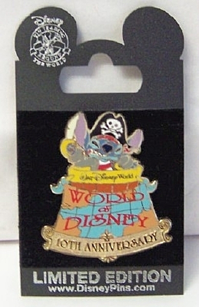 WDW World Of Disney 10th Anniversary Pirate Stitch LE 1000 Pin New On Card Front