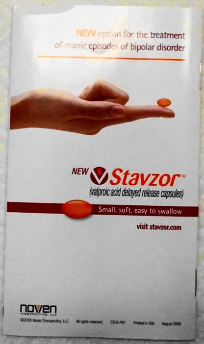 Stavzor Pillbox Travel Kit 2008 New Booklet Back