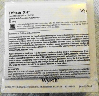 Effexor XR Wyeth Pad 2005 Drug Rep Logo Collectible New Bottom