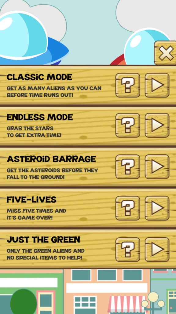 Stupid Aliens - Game Mode Selection Screen