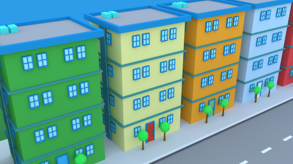 A row of apartments created in Blender