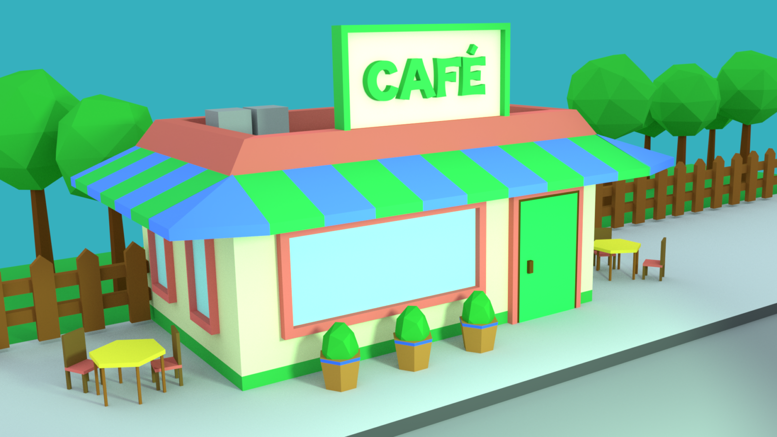 Country Café created in Blender
