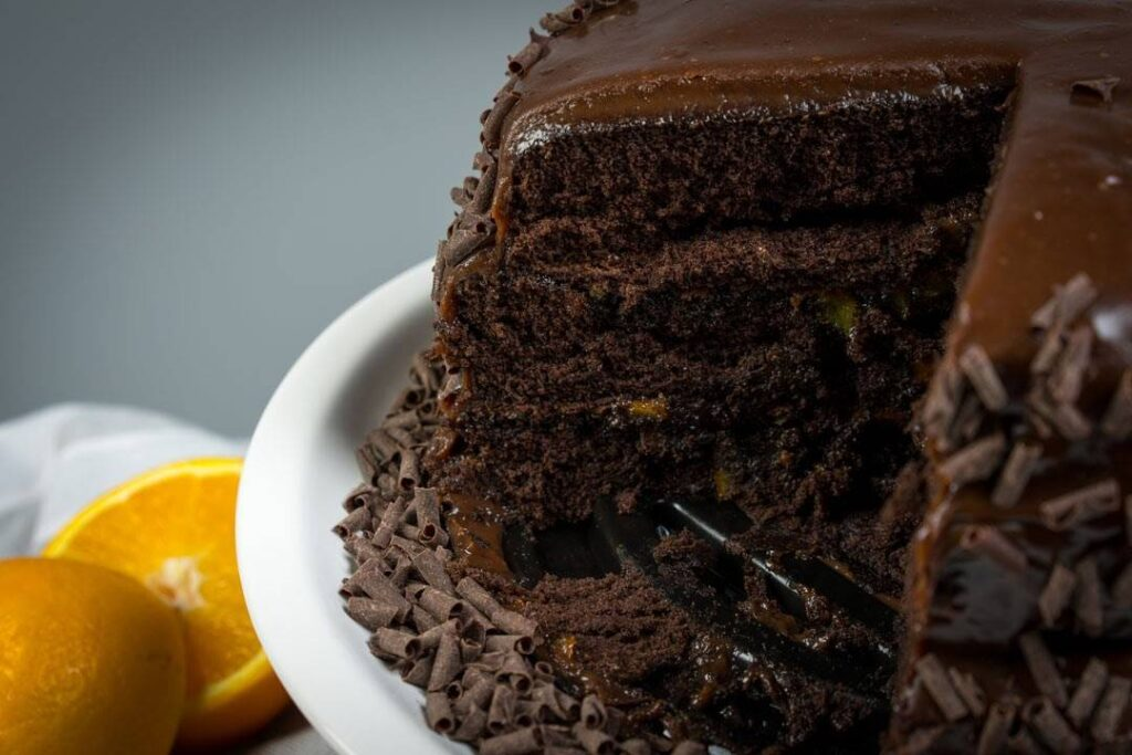 Luisella Orange Chocolate Cake Cut