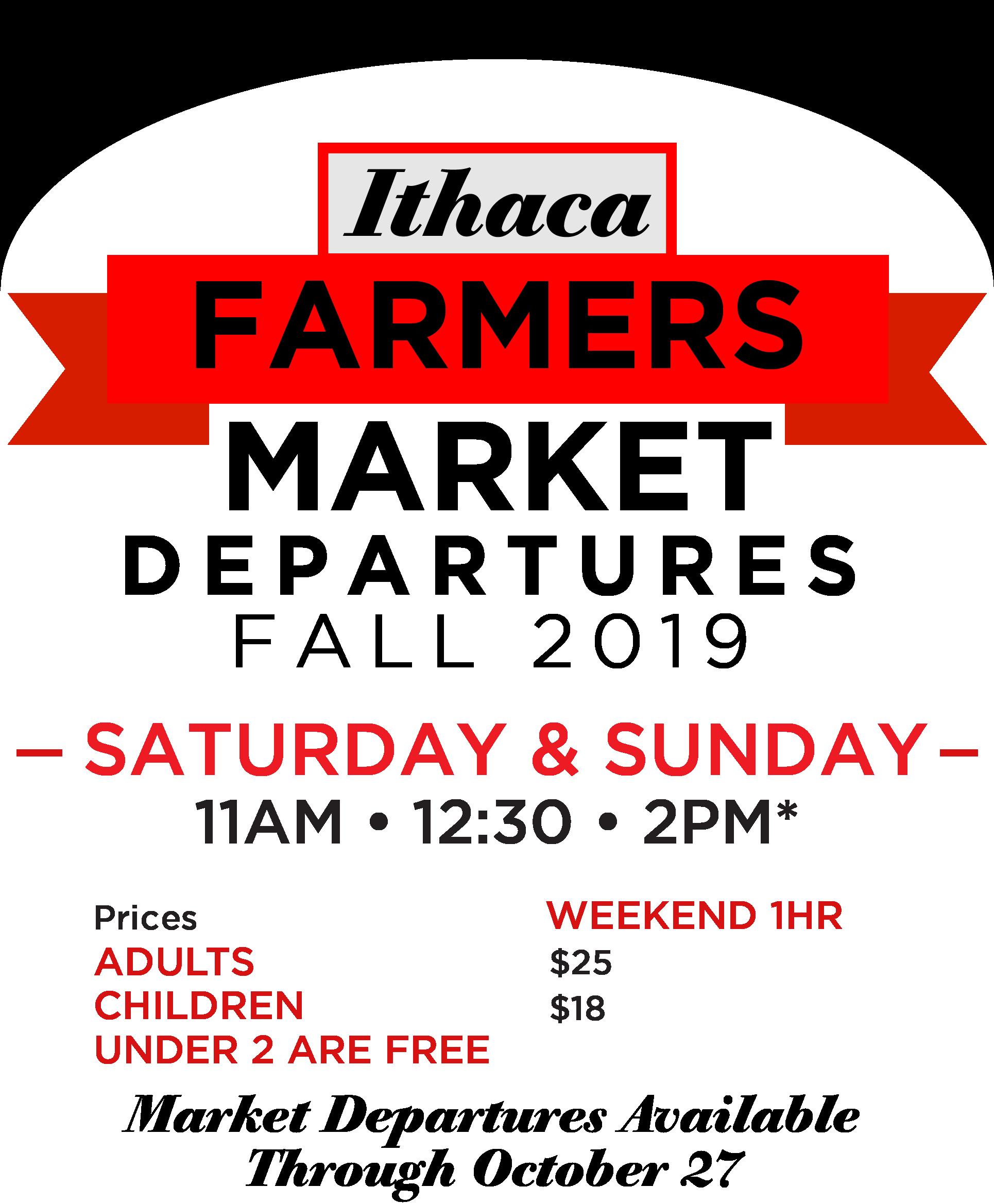 Ithaca Farmers Market Departures, 2019 Schedule