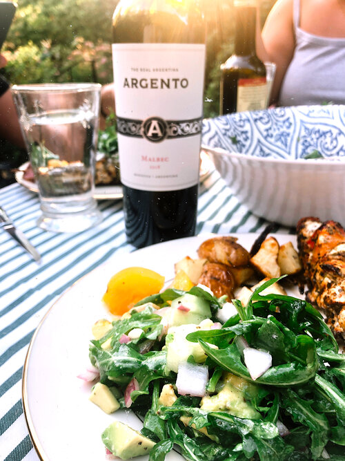 summer salad and wine