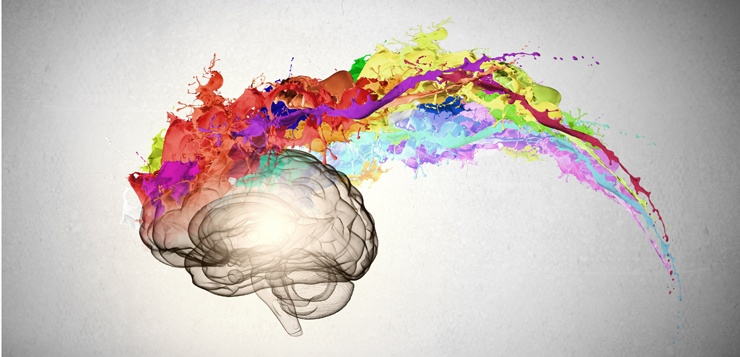 Creative Brain - image of a graphic designed brain on fire with colors of paint arcing over the brain.