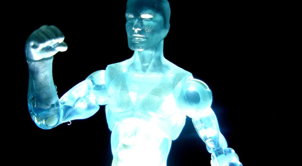 The Iceman - image of a plastic blue iceman character slightly illuminated