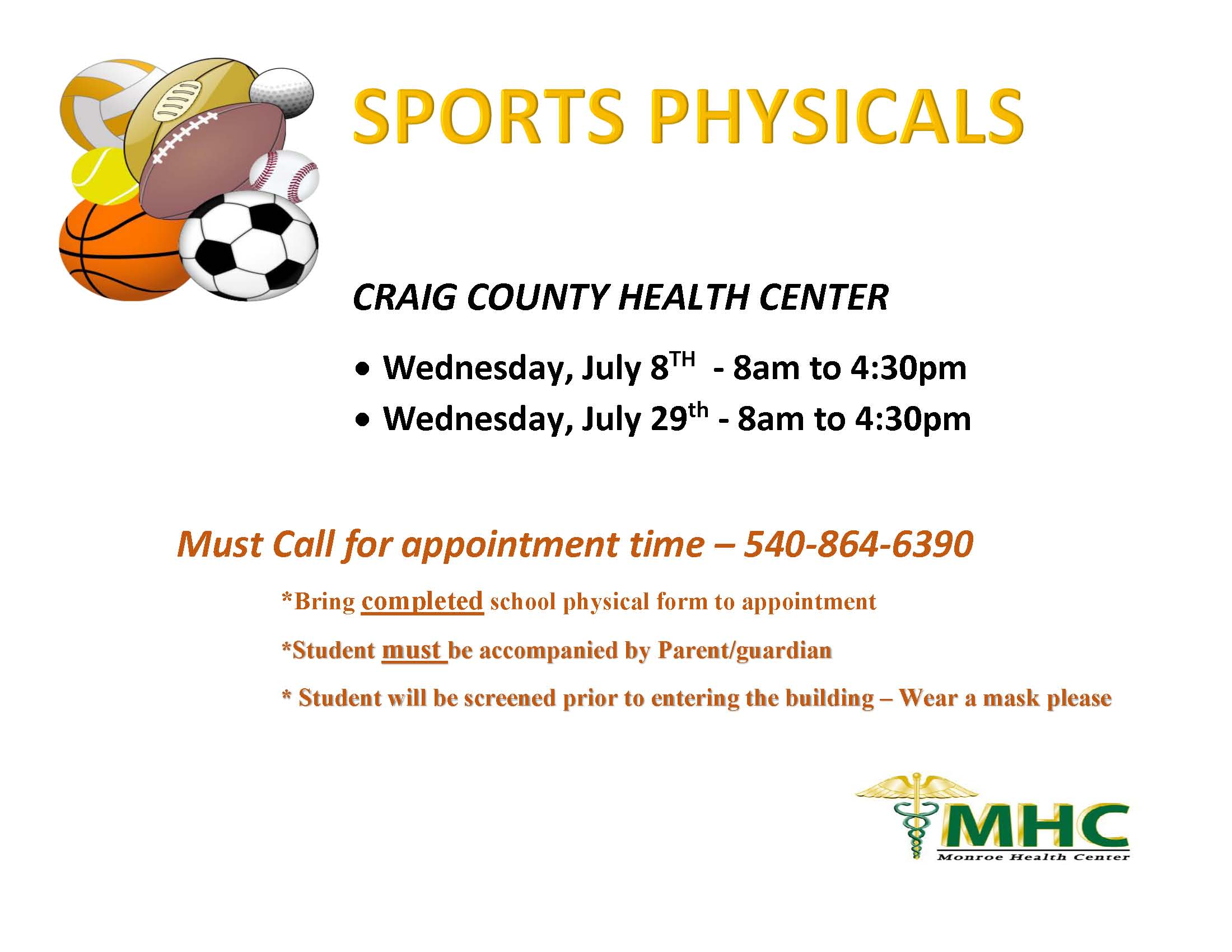 Sports physical flyer 2020 - cchc