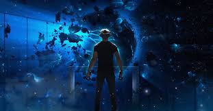 exploding planet with blue background and a man with a Vive headset and controllers