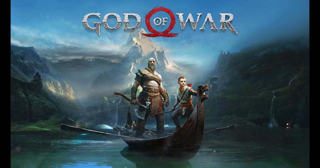 God of War , Kratos and his son Atreus cruising around the Lake of Nine hub area