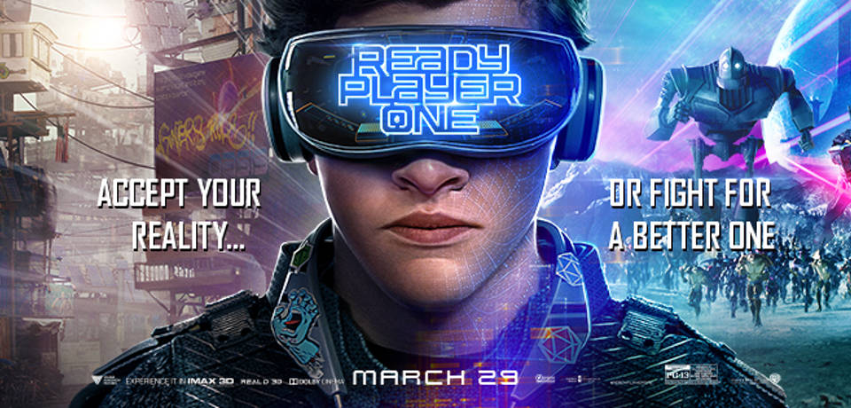 "ready player one image capion ""accept your Reality"" on the left and "" Or Fight for a Better one""  on the right"
