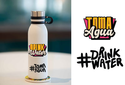 Water bottle with drink water stickers