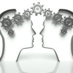 Brains made of gears in heads, concept of thinking and cooperation with communication