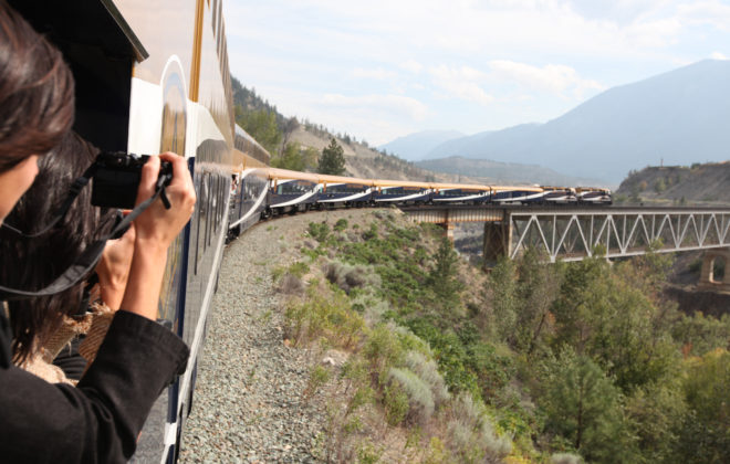 Taking photos onboard the Rocky Mountaineer train in Canada.