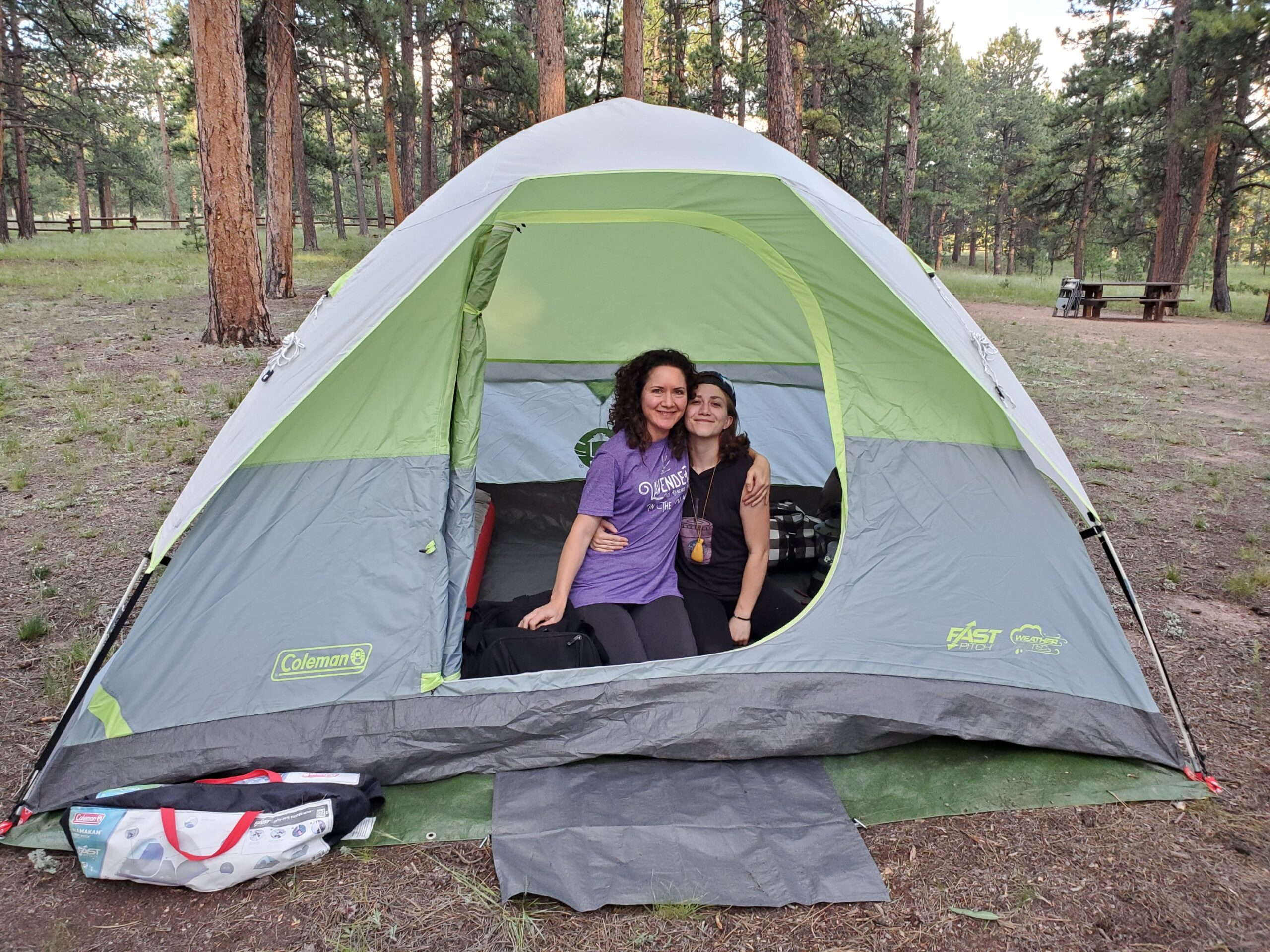 Mom and Daughter Camping
