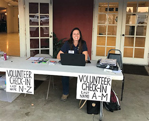 photo of Napa CART volunteers check-in table