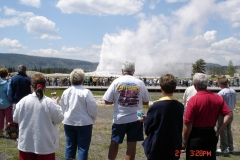 The group went there own way on our day in Yellowstone park. Here some of us checked out Old Faithful