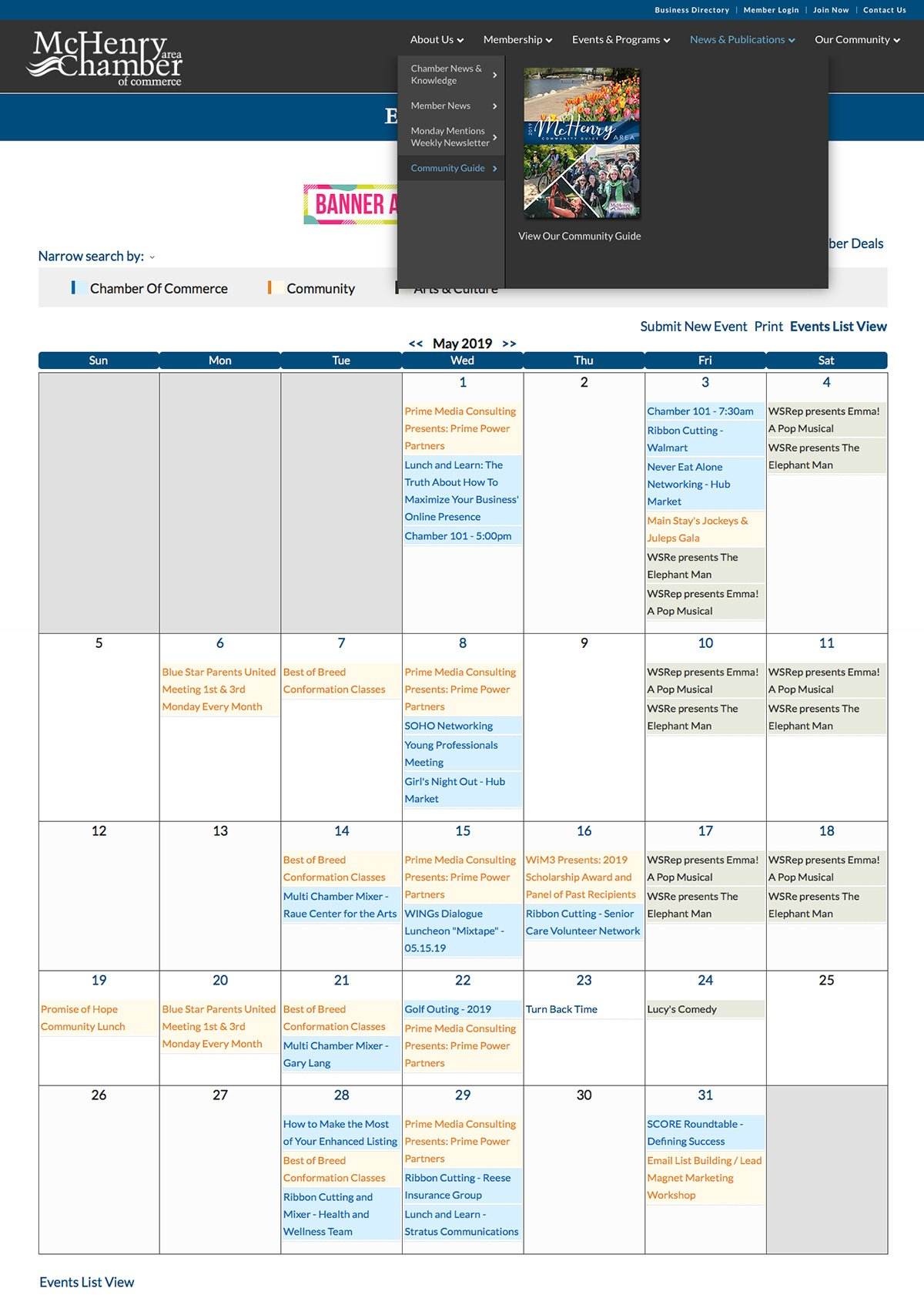 MACC Calendar Page