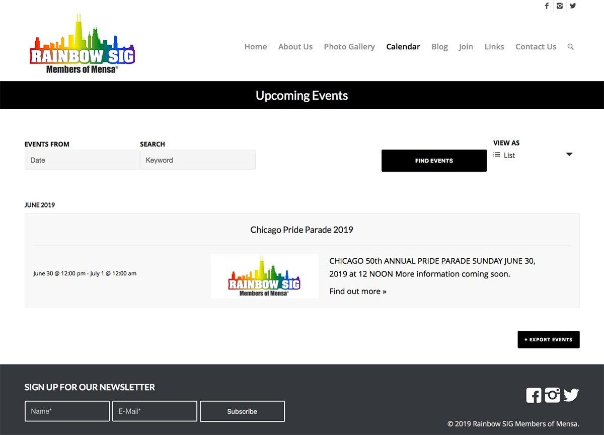 Rainbow SIG Facebook Events