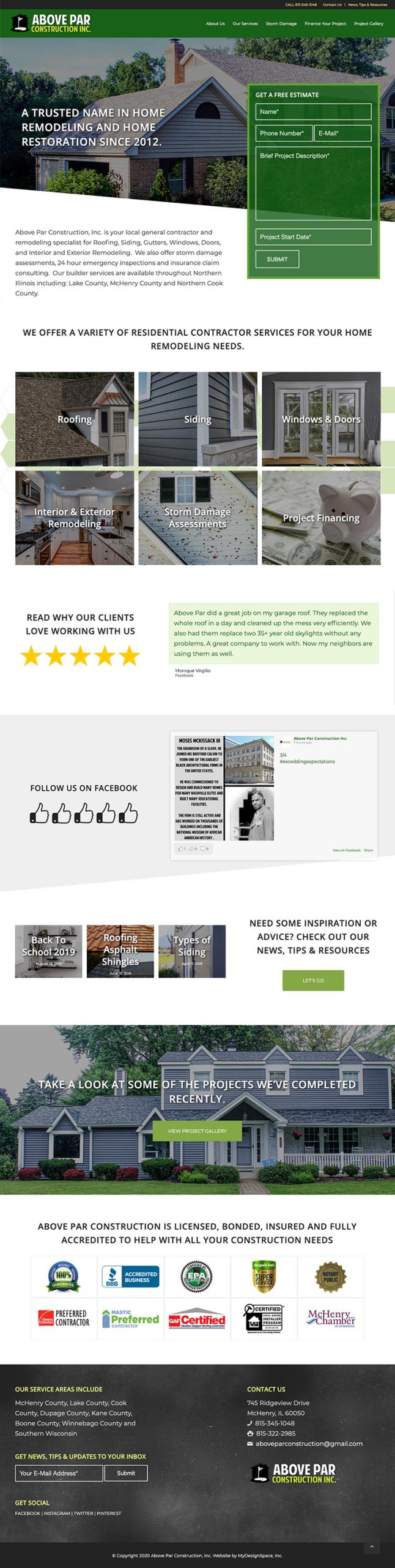 Above Par Construction Home Page