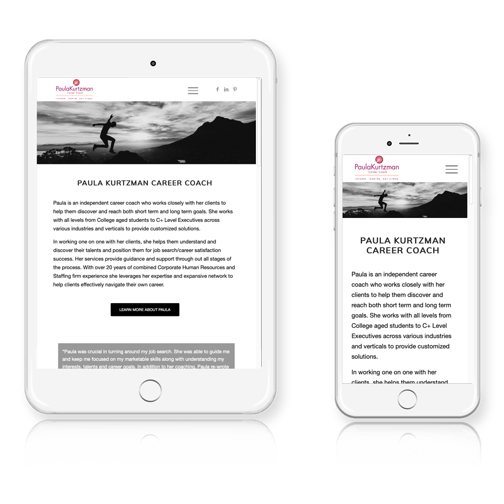Paula Kurtzman Career Coach Responsive Layout
