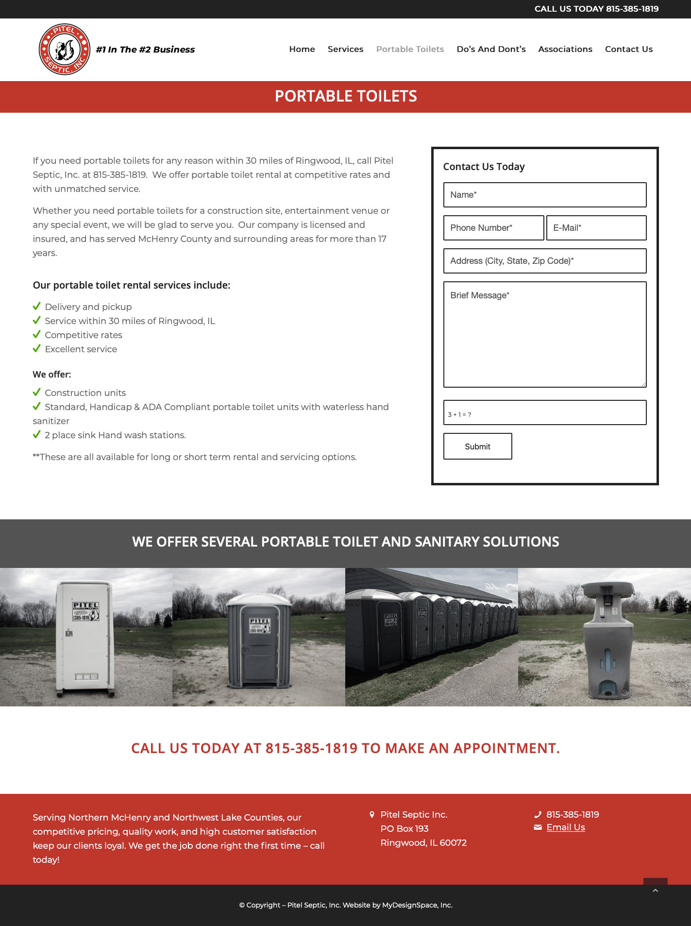 Pitel Septic Portable Toilets Page