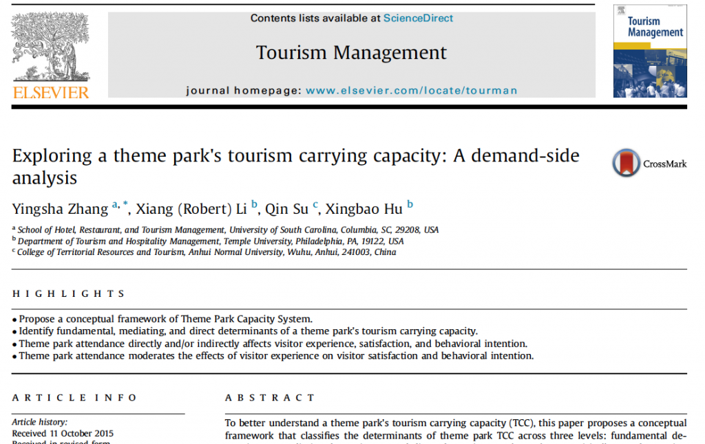 Exploring a theme park's tourism carrying capacity- A demand-side analysis