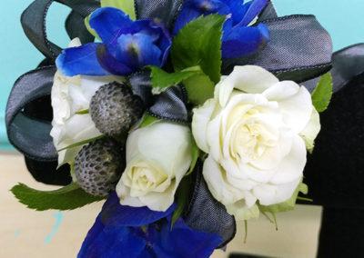 Prom Corsage Whit Roses Black Blue Ribbon