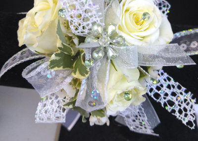 Prom Corsage White Silver Sparkles