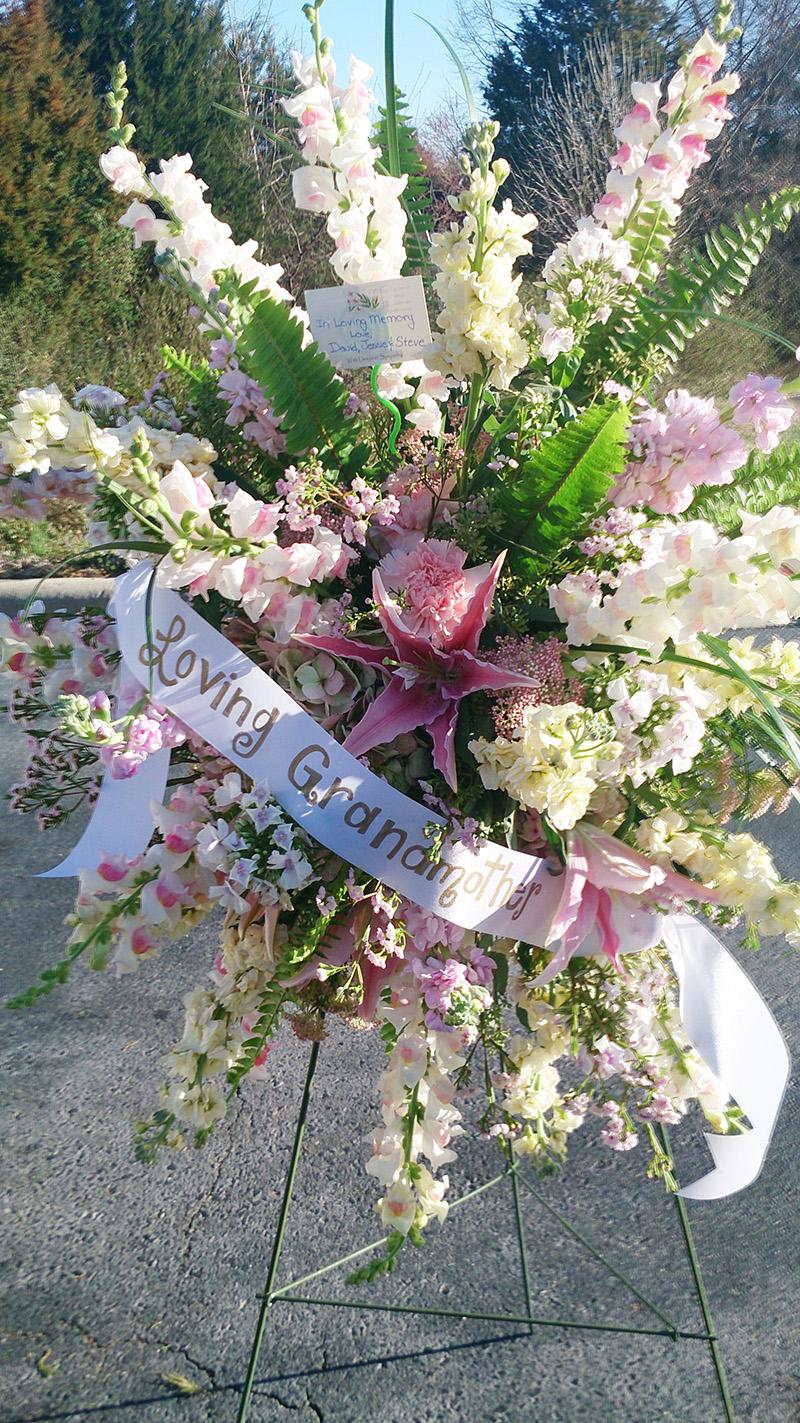 Standing Spray Loving Grandmother Sympathy Arrangement The Flower Diva