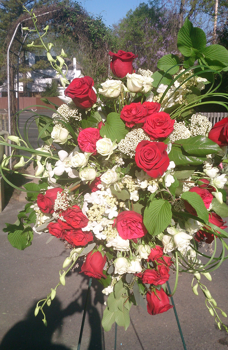 Sympathy Arrangement Standing Spray Red Roses