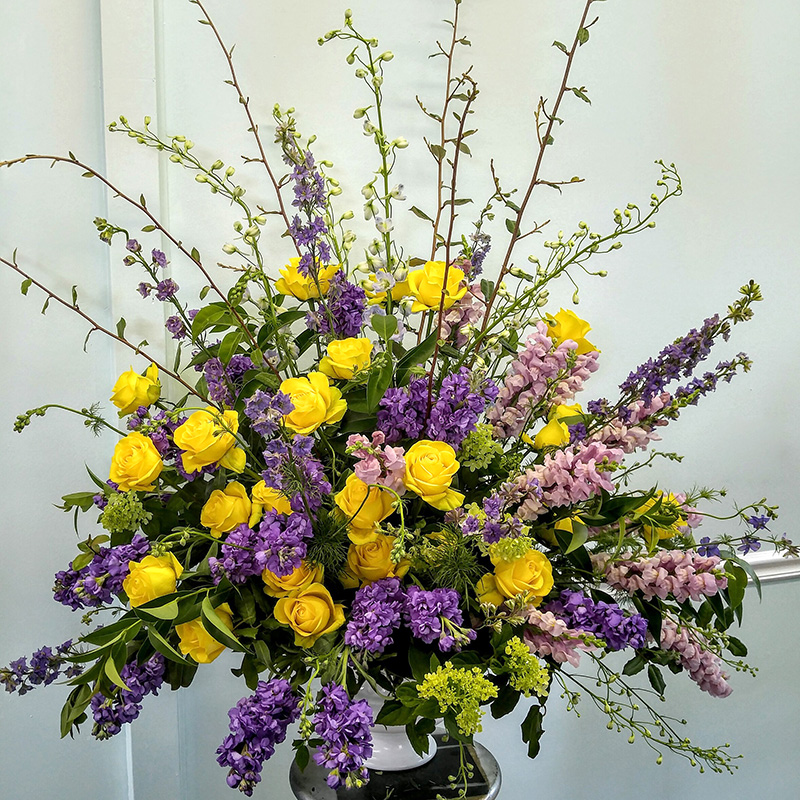 Sympathy Arrangement Yellow and Purple in Vase