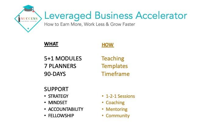 isuccess leveraged business accelerator program design