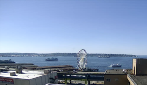 Seattle Waterfront Webcam SWW Happy Ships in the Bay 08 16 2018