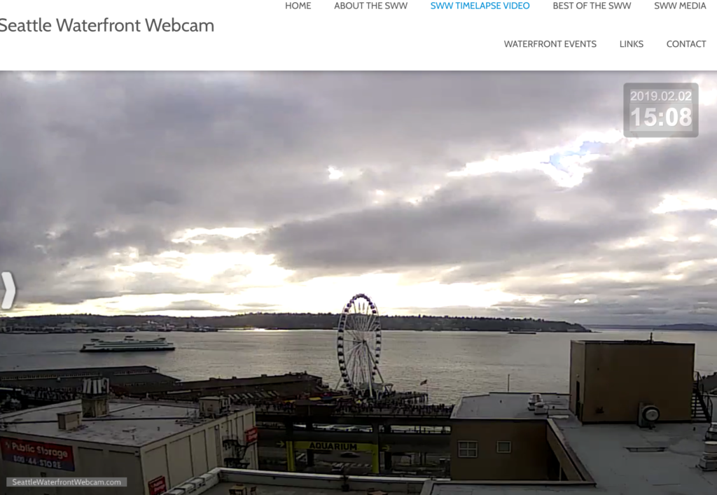Seattle Waterfront Webcam People on Viaduct and Ferry 02 02 2019