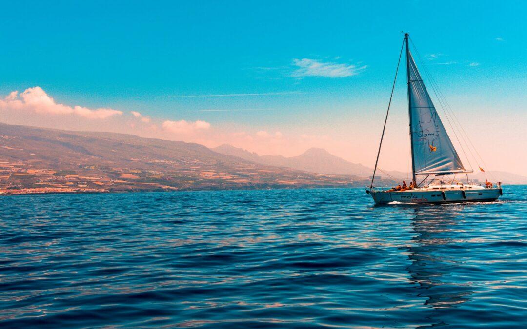 Sailing away under a blue sky