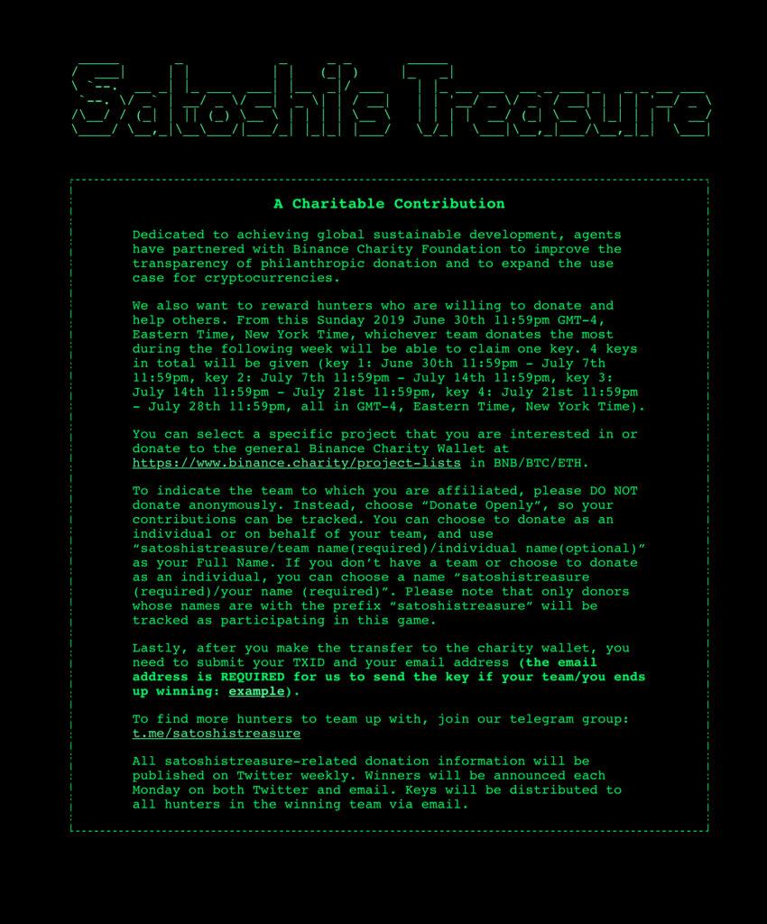 Satoshi's Treasure June 26, 2019