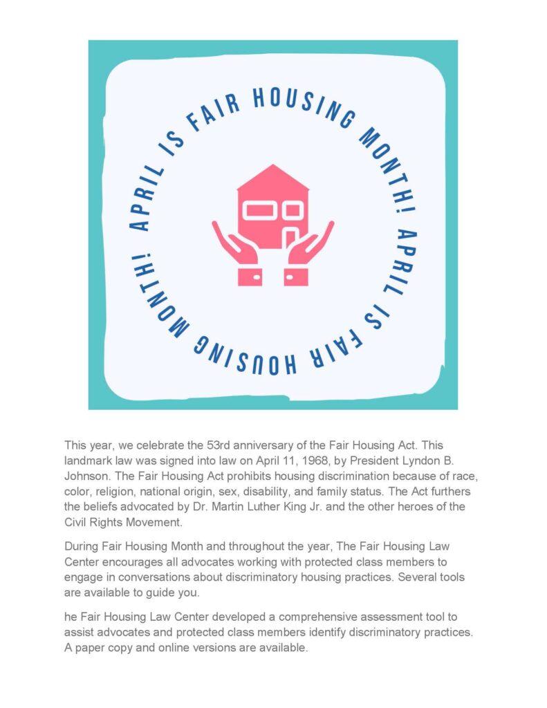 April is fair housing month - flyer