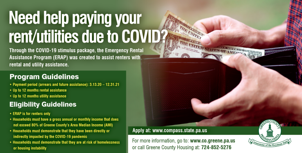 Need help paying your rent/utilities due to COVID flyer