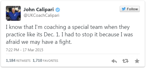 John Calipari tweets about the effort of the entire Kentucky team.