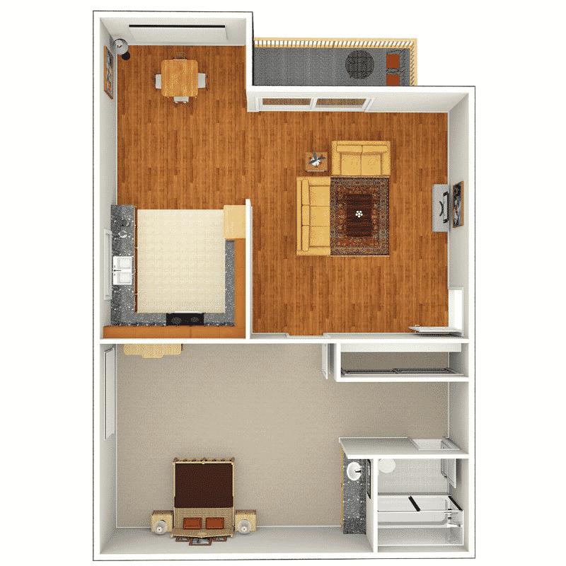 1 Bed, 1 Bath 650 sq. ft. floor plan