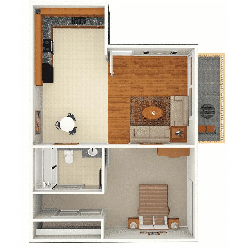 1 Bed, 1 Bath 550 sq. ft. floor plan