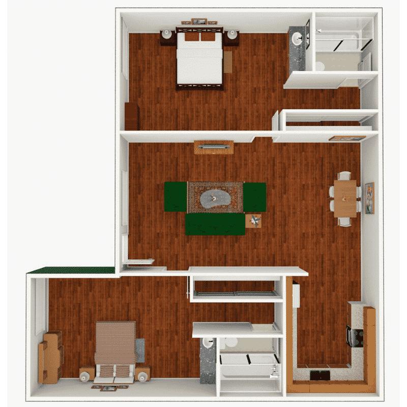 2 Bed, 1 Bath 950 sq. ft. floor plan