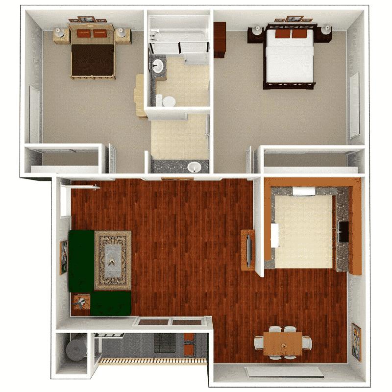2 Bed, 1 Bath 800 sq. ft. floor plan