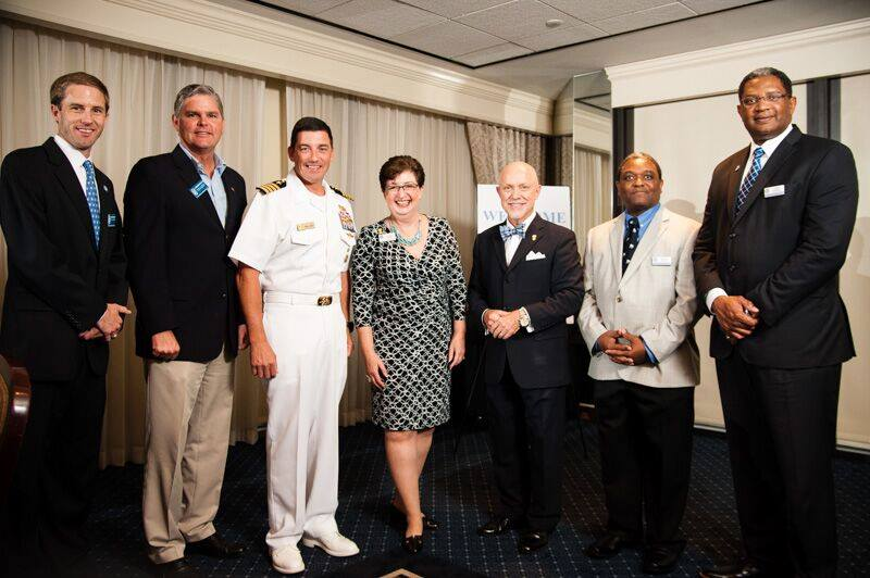 "Featured guest speaker Captain Eugene ""Geno"" Paluso, II '89 USN (ret.), Commandant of Cadets, with Colonel Hutto '87, Citadel Alumni Association,  Dorie Griggs and the ACC Officers"