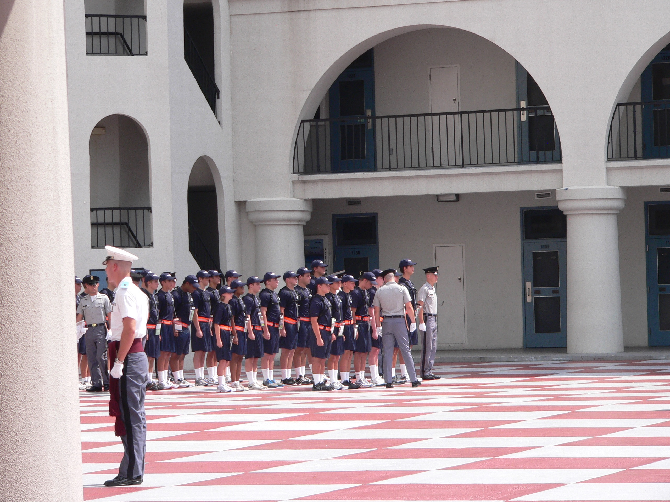 "Bravo Company lining up with their cadre members or as i like to call them, ""The Hospitality Committee"""
